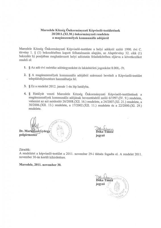 kommunális adó rendelet